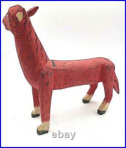 Vintage Mexican Folk Art Alebrije Wood Carving Animal Wooden Oaxacan Red Horse