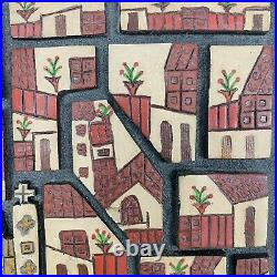 Vintage Mexican Folk Art Bas Relief Wood Carving Signed Taxco Mexico 7.5x8.5