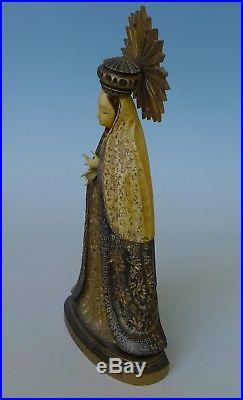 Vintage Mexican wood NS de MACARENA sculpture madonna virgin M. CORTEZ 10 3/8