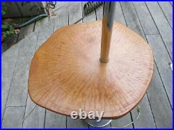 Vintage Mid Century Danish Modern Sculptural Chrome Floor Lamp &Maple Wood Table