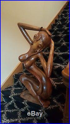 Vintage Mid Century Eames Era Nude Wood Sculpture Abstract Wayan Rendah HUGE