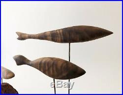 Vintage Mid Century Modern 1960's Walnut Wood Fish Kinetic Sculpture Denmark