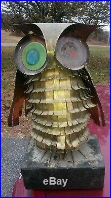Vintage Mid Century Modern Curtis Jere Owl Bird Metal Sculpture On Wood Base