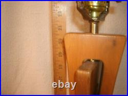 Vintage Mid Century Modern Danish Teak Brass Table Lamp Sculptured Wood MCM