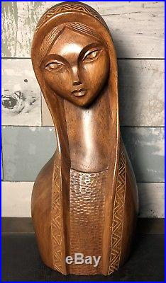 Vintage Mid Century Modern Jose P. Alcantara Wood Carving Bust Sculpture Statue