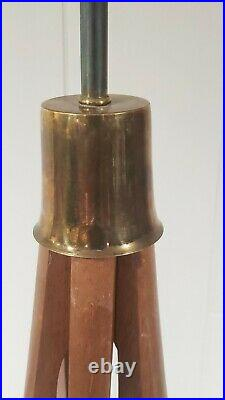 Vintage Mid Century Modern Modeline Wood And Brass Sculptural Table Lamp 27