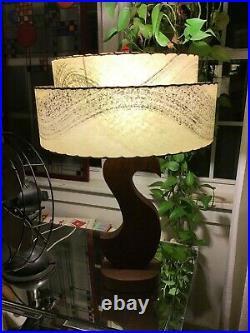 Vintage Mid Century Modern Sculptural 2 Tier Fiberglass Shade Wood Table Lamp