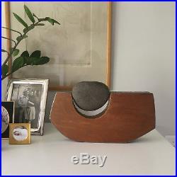 Vintage Mid Century Modern Stone Rock Wood Metal Abstract Sculpture