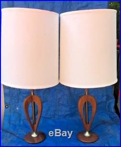 Vintage Mid Century Modern Teak Wood Atomic Sculptured Table Lamp Pair Danish
