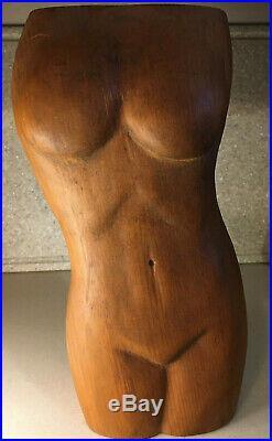 Vintage Mid-Century Nude Female Torso Hand Carved Wood Sculpture 13.5 Tall
