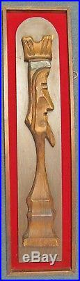 Vintage Mid Century WITCO King & Queen 3D Wall Hangings Wood Sculpture on Velvet