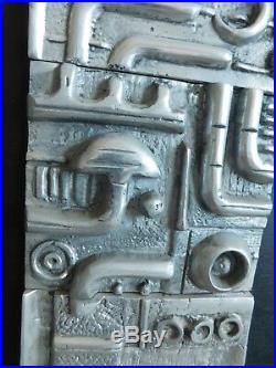 Vintage Mid Century abstract Modernist wall ART Wood Metal sculpture Metallic