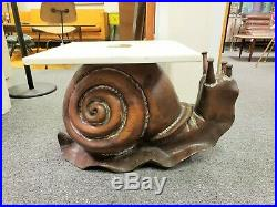 Vintage Mid-century Frederico Armijo Carved Wood Snail Sculpture Side End Table