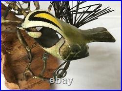 Vintage Midcentury Norman Brumm Metal Mounted on Wood Bird Sculpture Signed