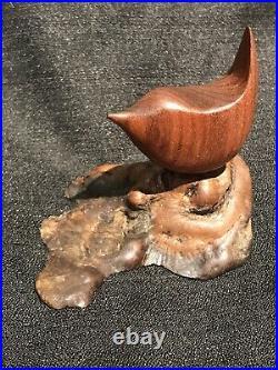 Vintage Miles Greer Signed Hand Carved Wood Bird Sculpture Mid Century Modern