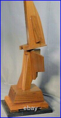 Vintage Modern Abstract Cubist Constructivist Teak Black Marble Sculpture Wood