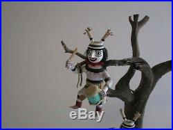 Vintage Native American Indian Painting Wood Kachina Doll Sculpture Tree Statue