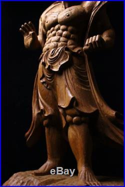 Vintage Nio Deva Kings Guardian of the Buddha Kongorikishi Wood Carving Statue