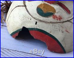 Vintage Northwest Coast Grouse Mask Carved & Painted Cedar Wood 1920