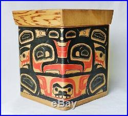 Vintage Northwest Coast Tlingit Haida Cedar Wood Bentwood Box Alaskan
