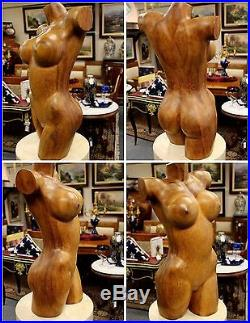 Vintage Nude Carved Wood 24 Tall Female Sculpture Signed/Dated K. M. DARTA 2006