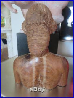 Vintage Nude Ebony Wood Sculpture BUST Head Hand Carved