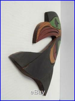 Vintage Nw Coast Canada Alaska Indian Raven Wood Carving Sgnd Plaque/wall Hanger