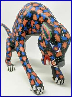 Vintage Oaxaca Alebrije Jaguar Wood Carving Signed by Fernando Espinal Arrazola
