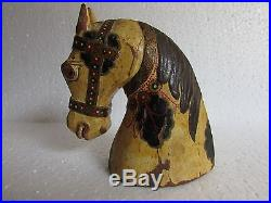 Vintage Old Hand Carved Painted Wooden Sculpture Horse Head Bust Collectible