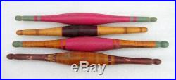 Vintage Original Old Lot of 9 Hand Carved Lacquer Wooden Chapati Rolling Pin