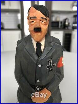 Vintage Original Sven Gunnarsson Wood Carving Adolf Hitler Political Figure