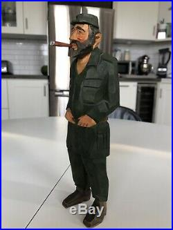 Vintage Original Sven Gunnarsson Wood Carving Fidel Castro Political Figure