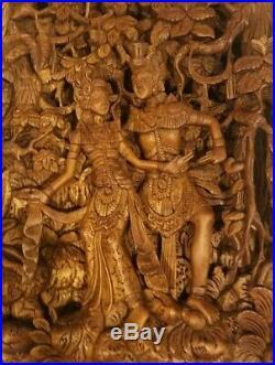 Vintage Ornately Carved BALI Wood Sculpture 3-D Relief HINDU Gods RAMA & SITA