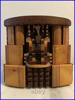 Vintage PO SHUN LEONG Signed Wood Folk Art Box Sculpture Craft Signed 1997 Exc