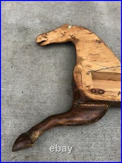 Vintage PRIMITIVE Hand Carved HORSE Wall Sculpture Folk Art American