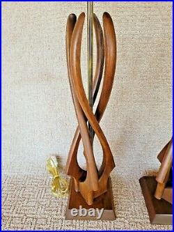 Vintage Pair Danish Mid Century Modern Sculptural Teak/Walnut Wood Table Lamps