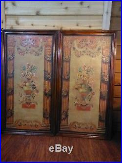 Vintage Pair Of Maitland Smith Wood Framed And Hand Painted Wall Art 51 X 27