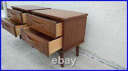 Vintage Pair Sculptural Walnut Wood Drawer Nightstands Two Drawer Angled Leg MCM