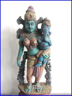 Vintage Parvati Devi w Baby Ganesh Hindu Temple Wooden Sculpture Statue Decor US