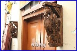 Vintage Peacock Statue Corbel Pair Wooden Wall Bracket Sculpture Home Decor Rare