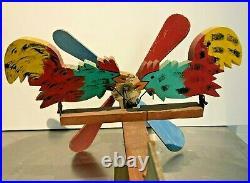 Vintage Pecking Rooster Whirligig Hand Made Americana Folk Art