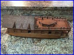 Vintage RARE Hand Carved Walnut Wood Kashmir India Model Boat House