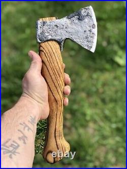 Vintage Russian Camping Axe Carving Hatchet Hand Carved Ash Wood Handle