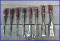 Vintage STANLEY NO. 750 set of 8 Bevel Edge Socket Chisels old wood carving tools