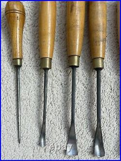 Vintage Selection Of Patternmaker's Wood Carving Gouges Set Of 8