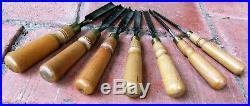 Vintage Set of 7 Ward Cast Steel Wood Carving Gouges Sizes 1/4 inch 3/4 inch