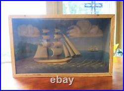 Vintage Ship Diorama Marine scene Shadow Box half Model Sail Boat Schooner