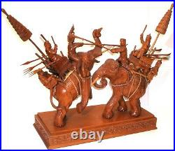 Vintage Siamese Thai War Elephants Carved Wood Sculpture