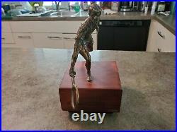 Vintage Signed Artist CURTIS JERE Bronze Tennis Sculpture Figurine Wood Base 10