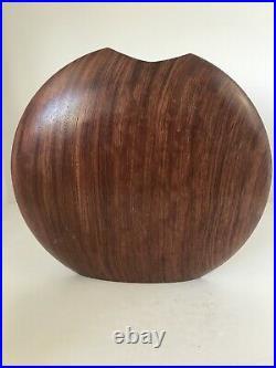 Vintage Signed Bubinga Heavy Wood Vase Sculpture Modernist Mid Century Modern